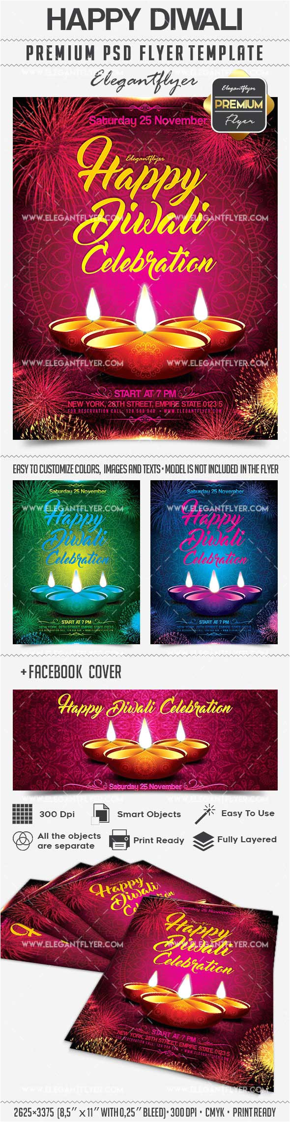 download happy diwali facebook cover flyer template photoshop