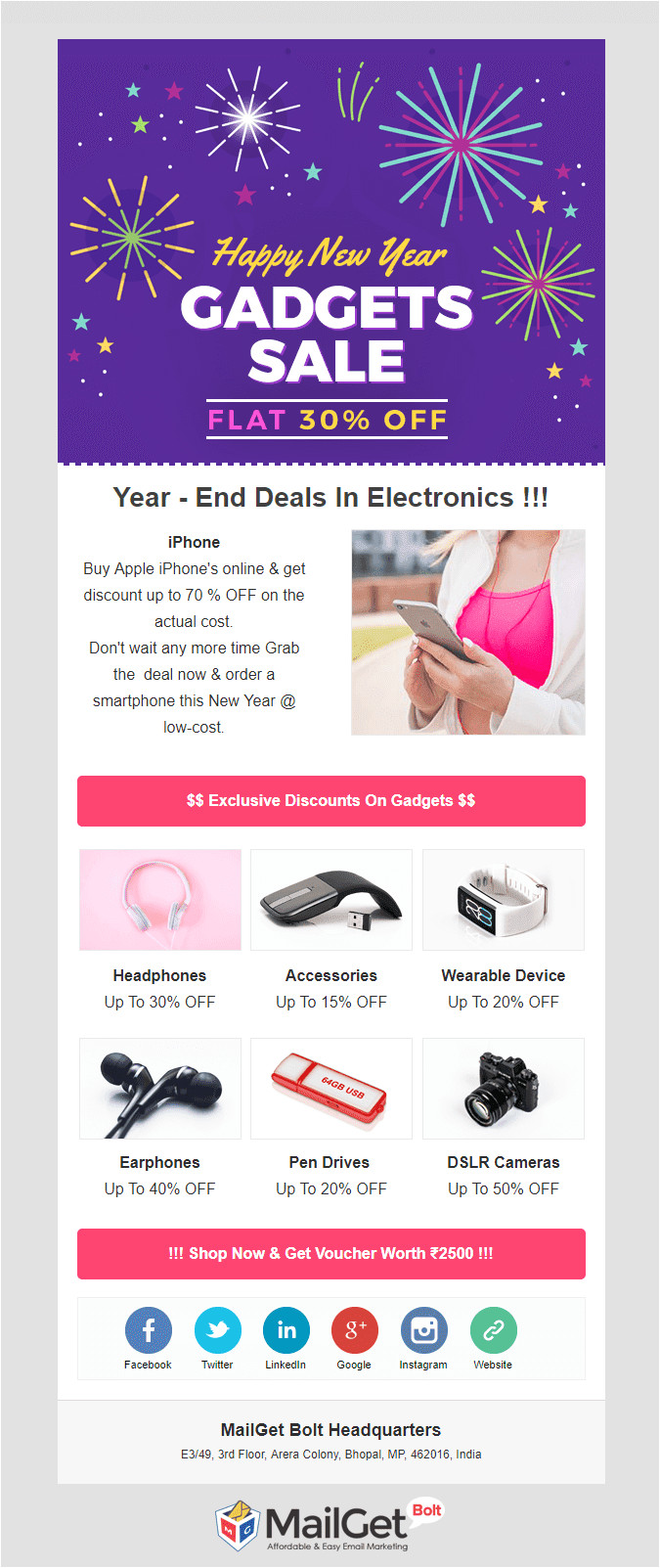 happy new years email templates