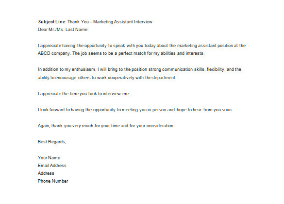 sample recruiter thank you letter