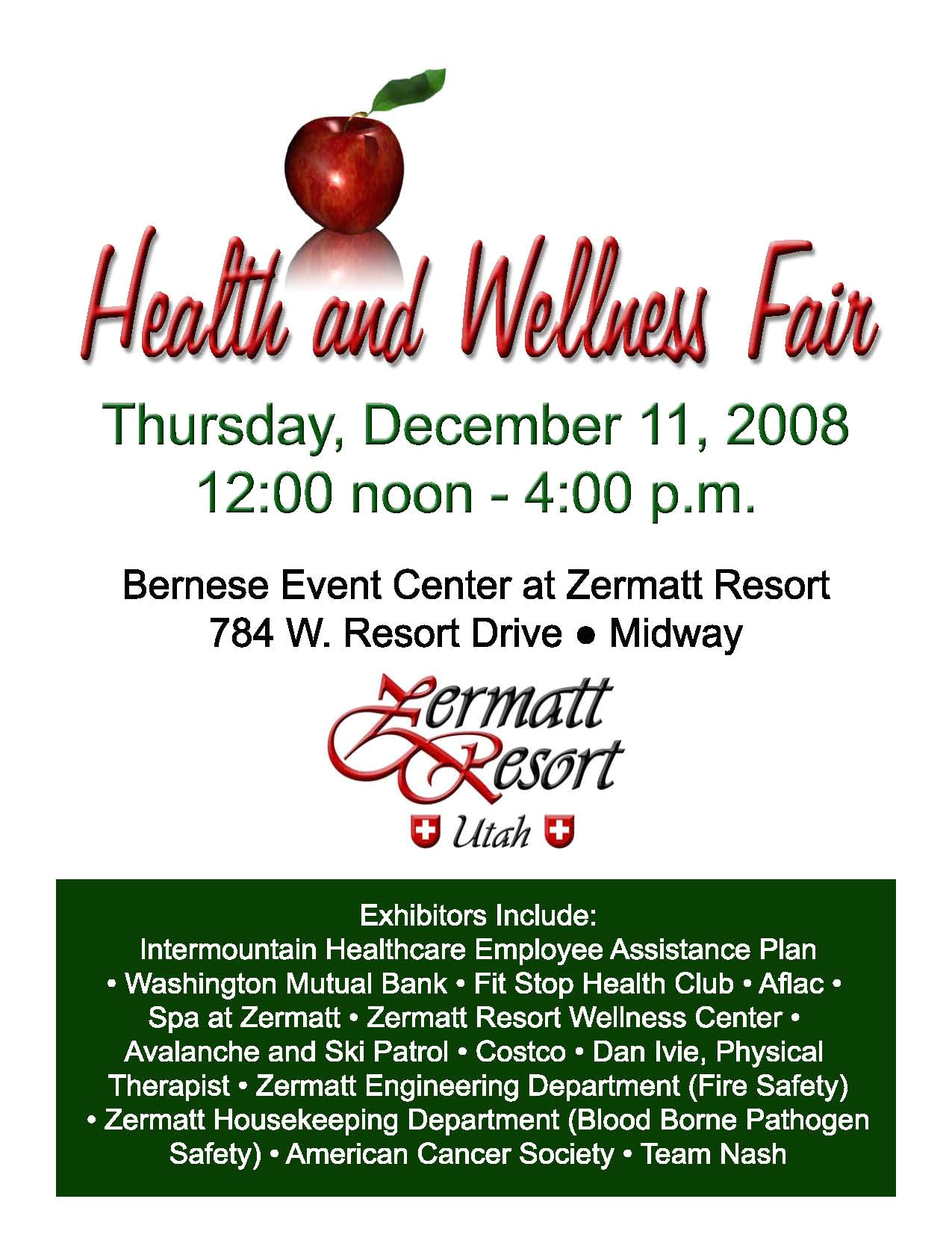 health and wellness fair at zermatt resort