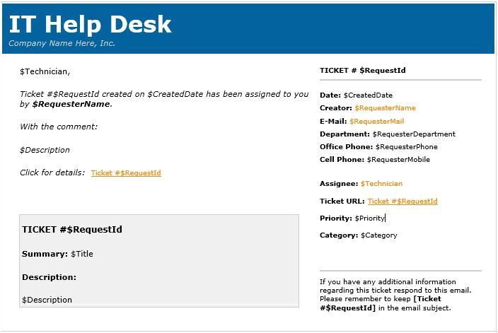 Helpdesk Email Template Samples HTML In Email Templates