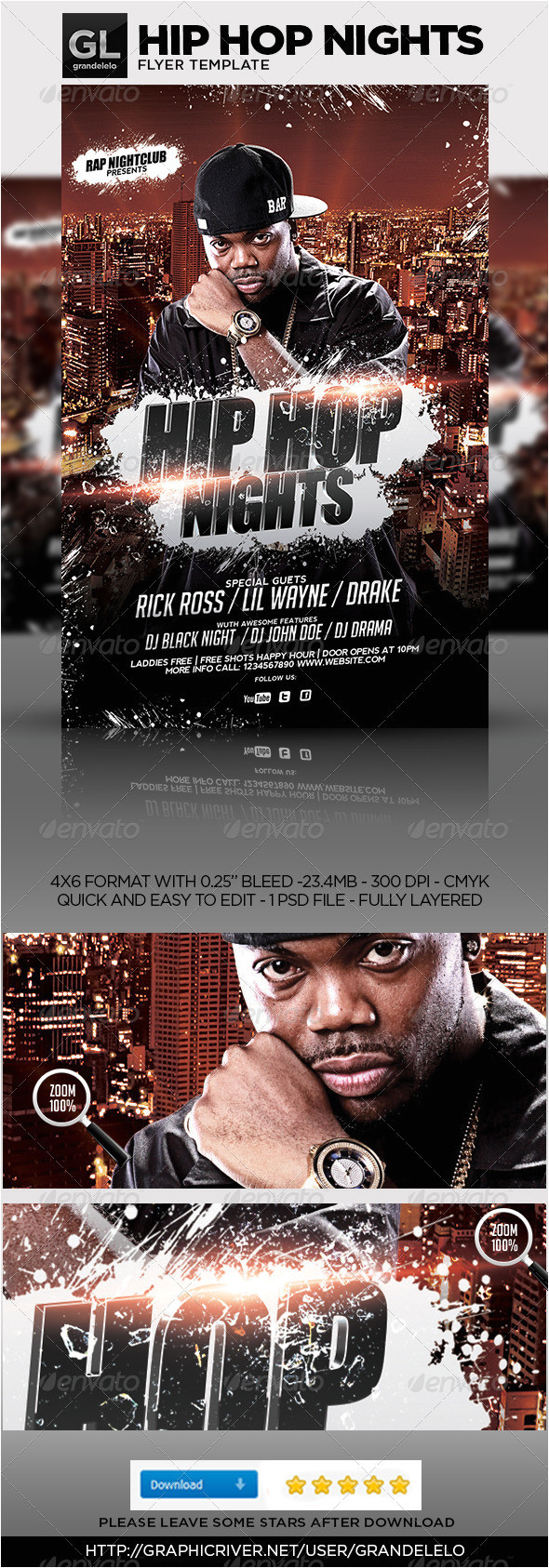 Hip Hop Party Flyer Templates Hip Hop Flyer Template by Grandelelo Graphicriver
