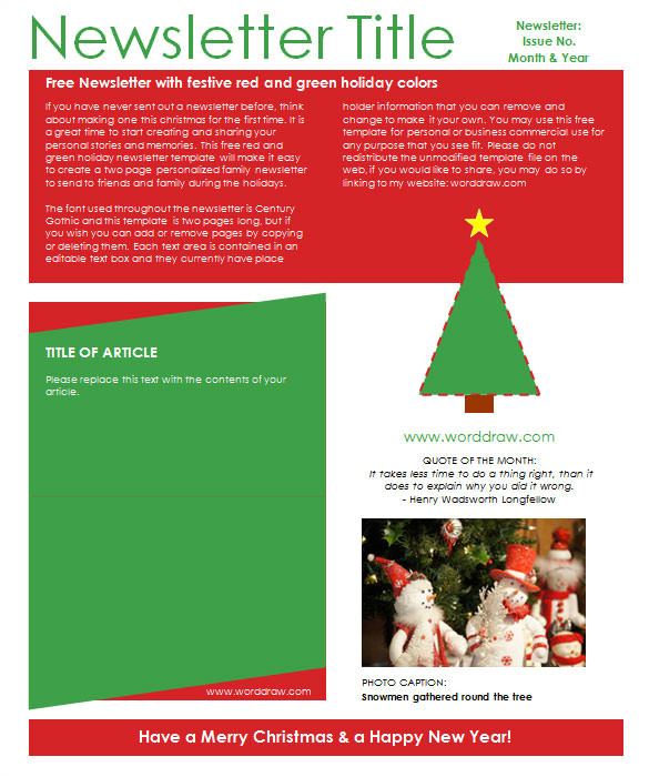 sample christmas newsletter