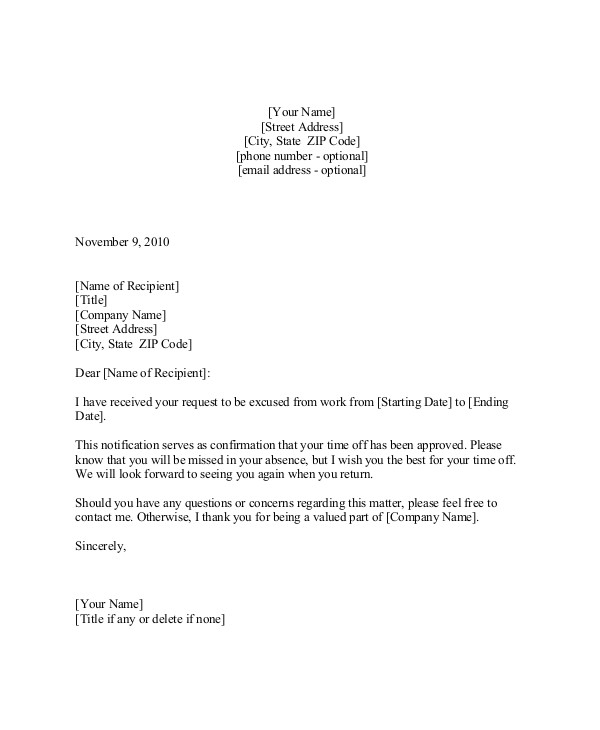 Holiday Request Email Template 9 Sample Vacation Request Letters Pdf Doc Apple Pages