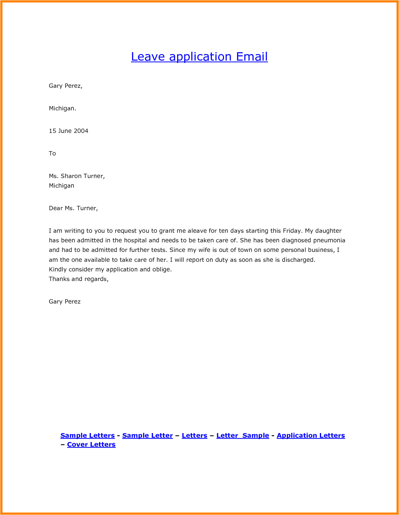 leave request email sample