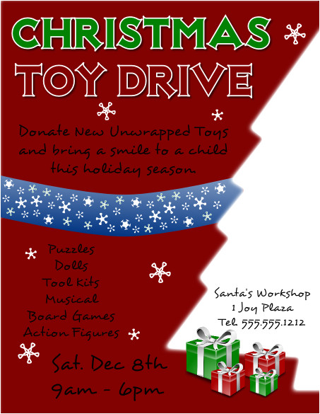 Holiday toy Drive Flyer Template Free Christmas toy Drive Flyer Template Larger View