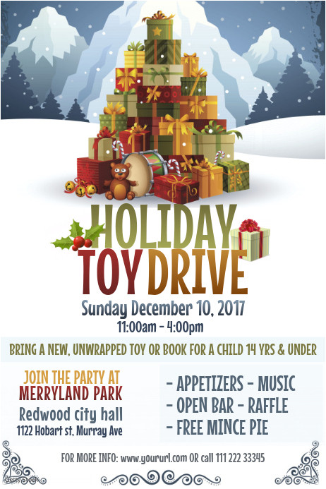 holiday toy drive flyer template