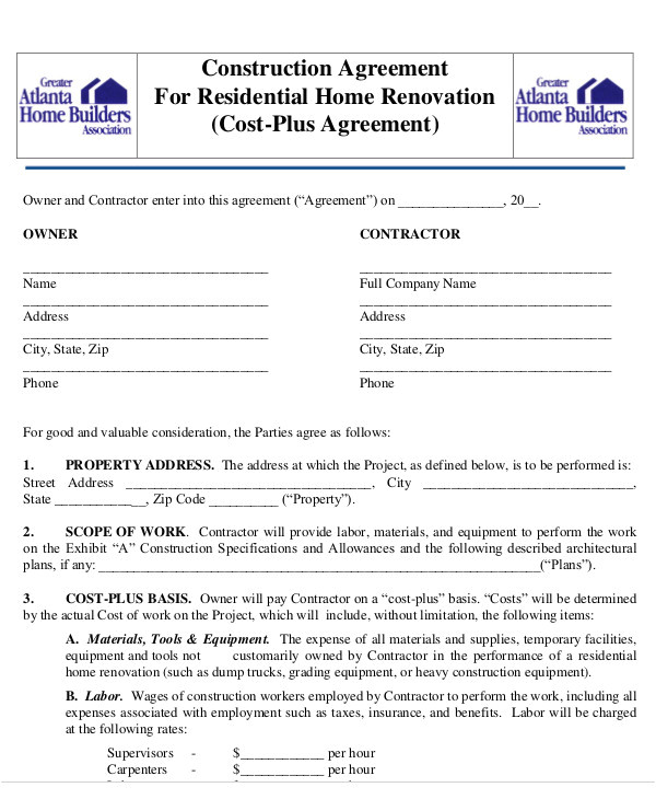 construction agreement template