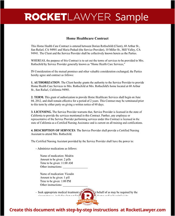 Home Health Care Contract Template Home Health Care Contract Agreement Template with Sample