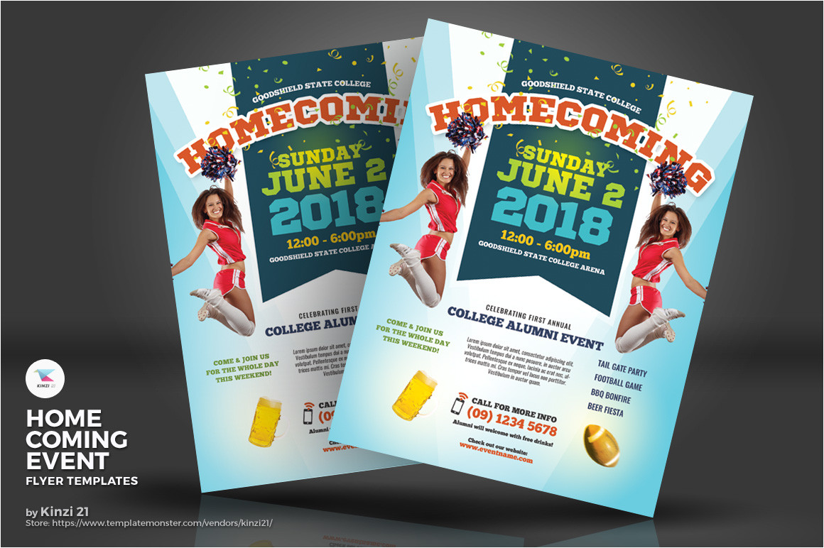 homecoming event flyers corporate identity template 71796