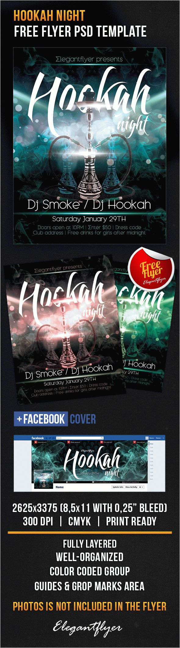 hookah night free flyer psd template facebook cover 2