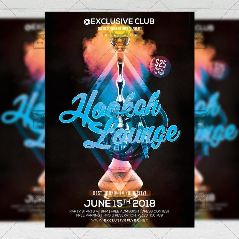 hookah lounge club a5 flyer template