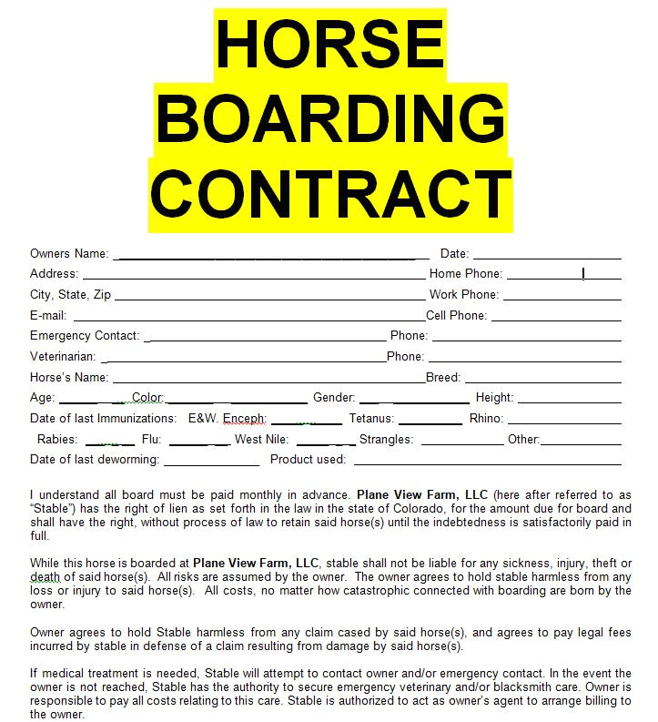horse boarding contract sample template