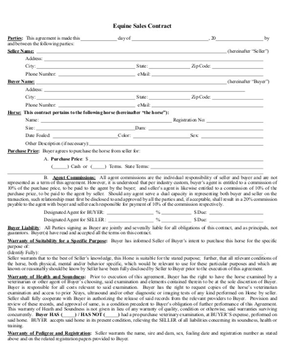 horse sales contract