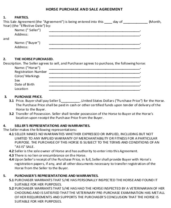 Horse Sale Contract Template Sample Horse Sales Contract 5 Examples In Word Pdf