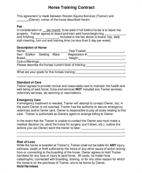 Horse Training Contract Template 9 Training Contract Samples Templates In Pdf
