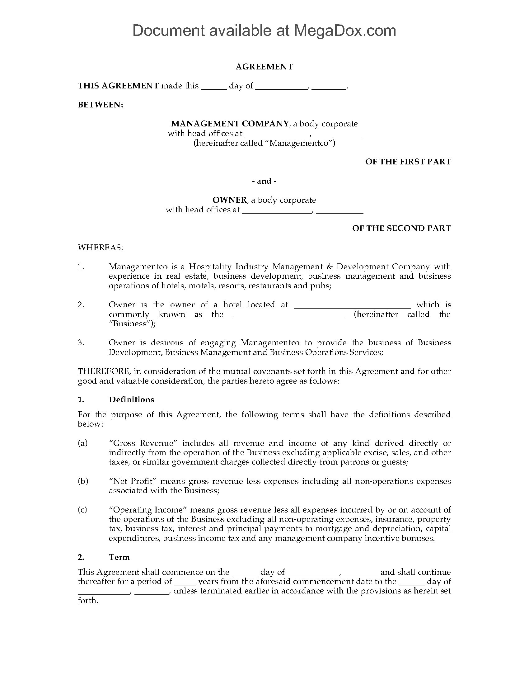 Hotel Management Contract Template Hotel Management Agreement Legal forms and Business