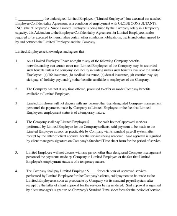 Hourly Employee Contract Template Sample Employment 43 Examples In Word Pdf