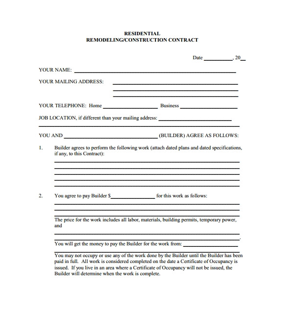 House Building Contract Template 9 Home Remodeling Contract Templates Word Pages Docs