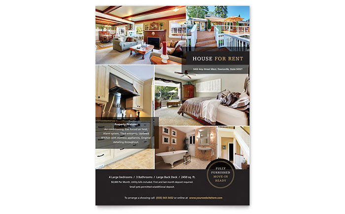 house for rent flyer templates re0191501d
