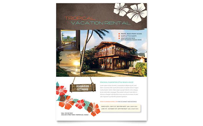 vacation rental flyer template design re0241501