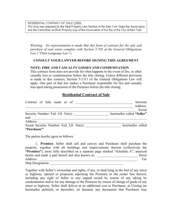 real estate owner sale contract template