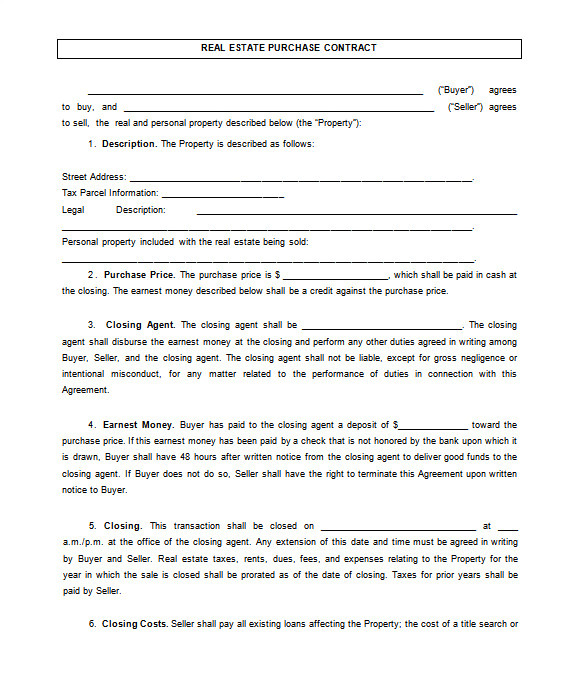 House for Sale by Owner Contract Template 14 Real Estate Contract Templates Word Pages Docs