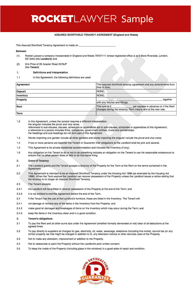 tenancy agreement for a house rl