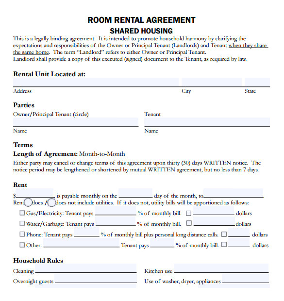 rental agreement example