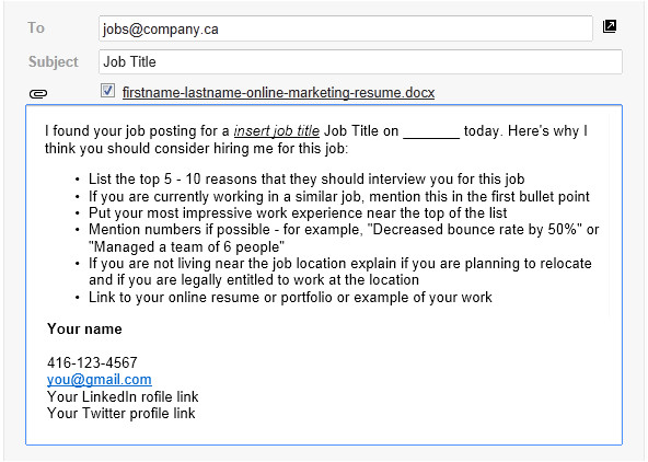 email template successful online job applications