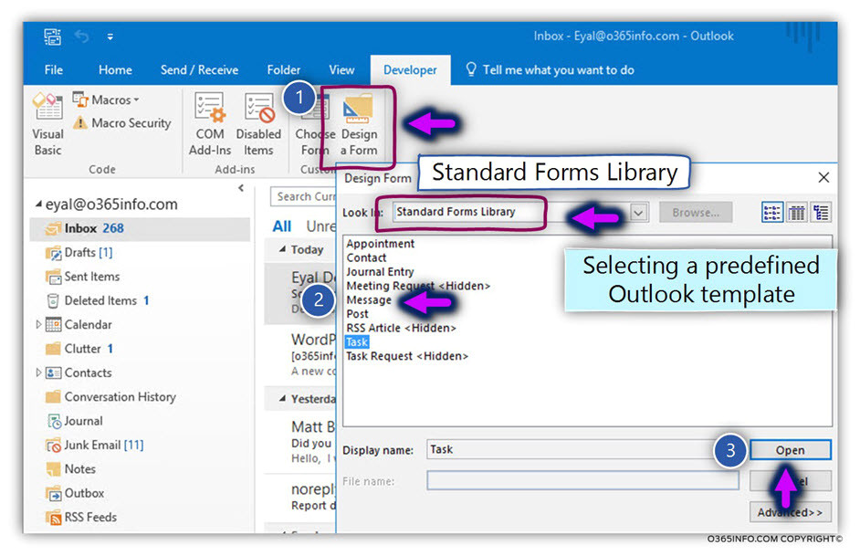create publish organizational forms office 365