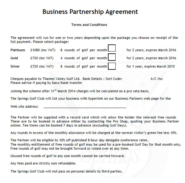 business partnership agreement template