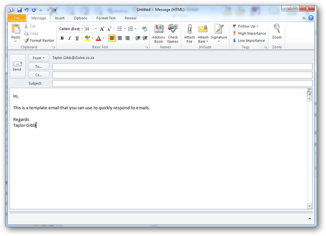 how to create and use templates in outlook 2010
