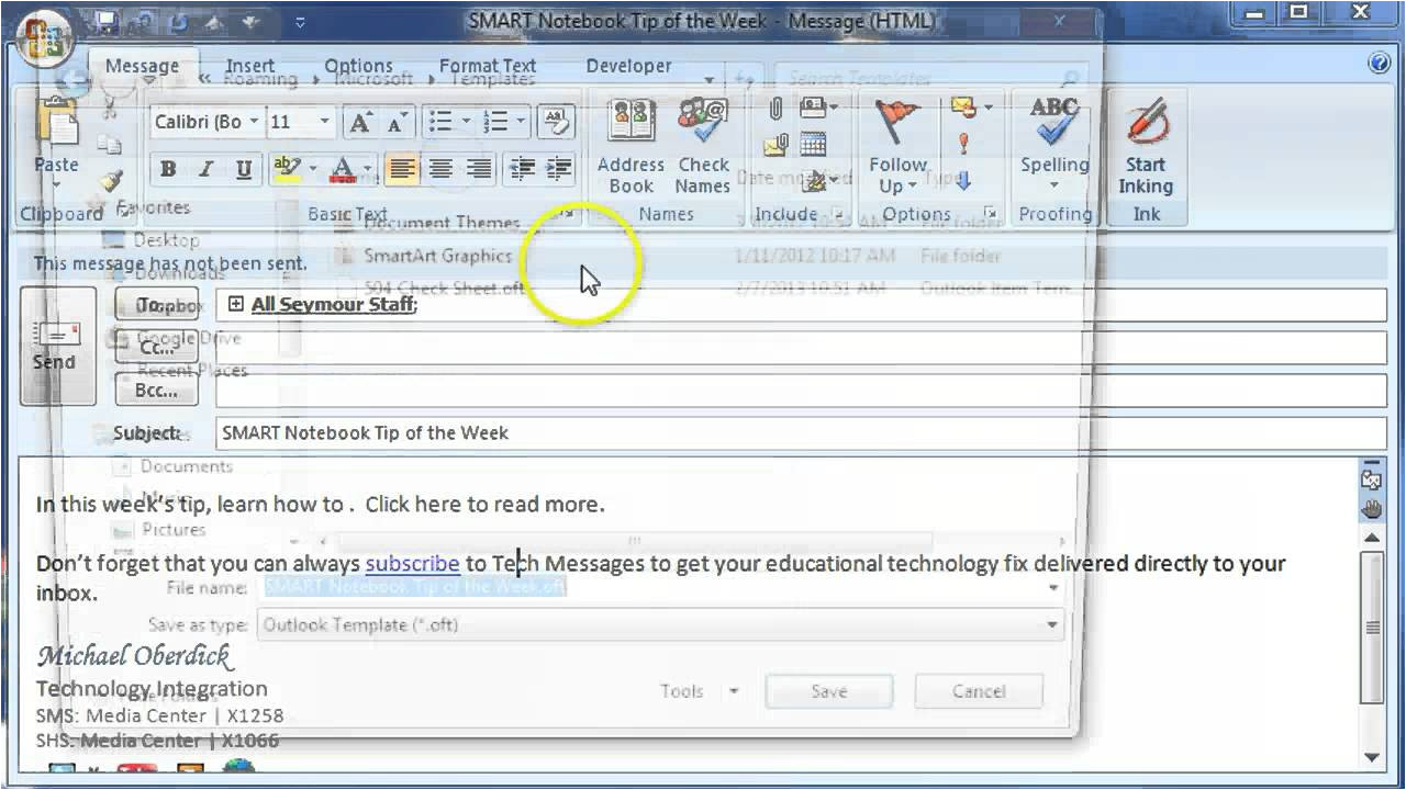 How to Make An Email Template In Outlook 2010 Creating An E Mail Message Template In Outlook Youtube