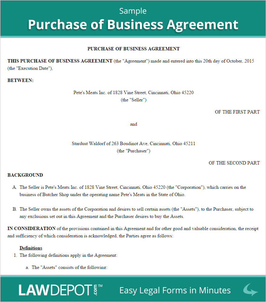 How to Write A Business Contract Template Free Purchase Of Business Agreement Create Download