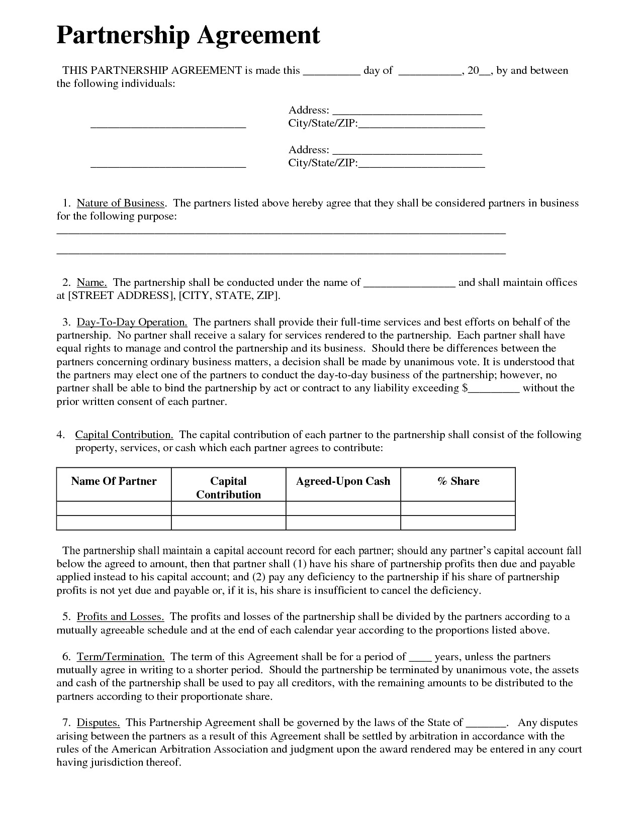 How to Write A Business Contract Template Partnership Agreement Business Templates Pinterest