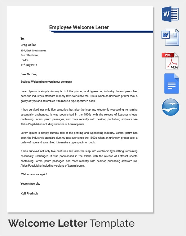 welcome letter template