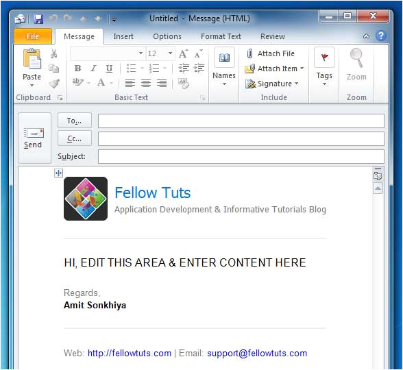 add outlook html email templates