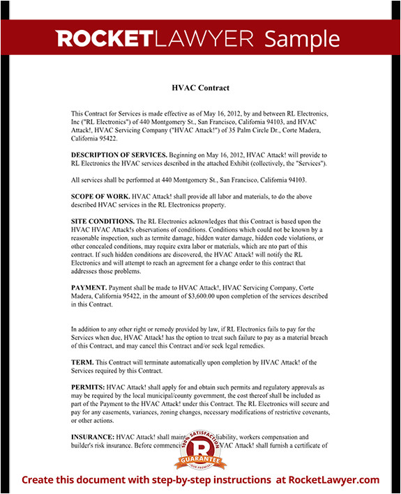 Hvac Installation Contract Template Hvac Service Maintenance Contract Template with Sample