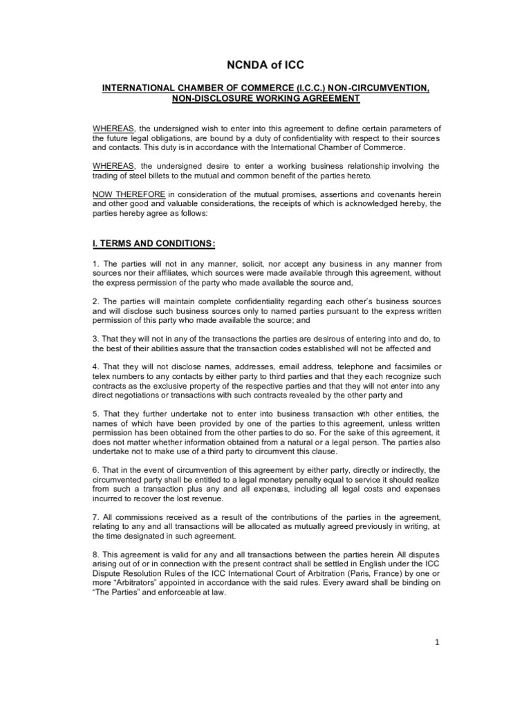 ncnda agreement sample