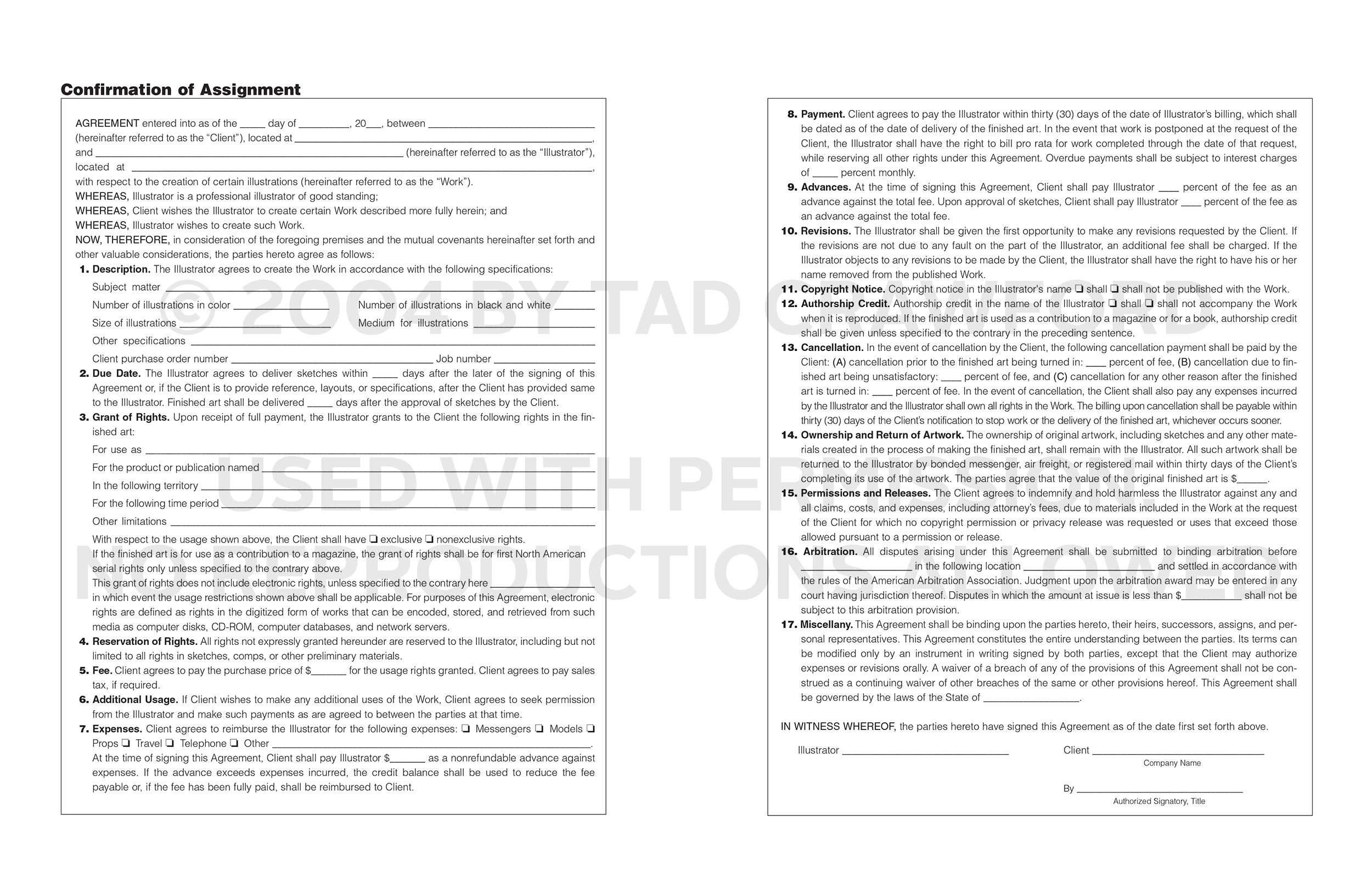 Illustration Contract Template What Should Go Into An Illustration Contract Business Of