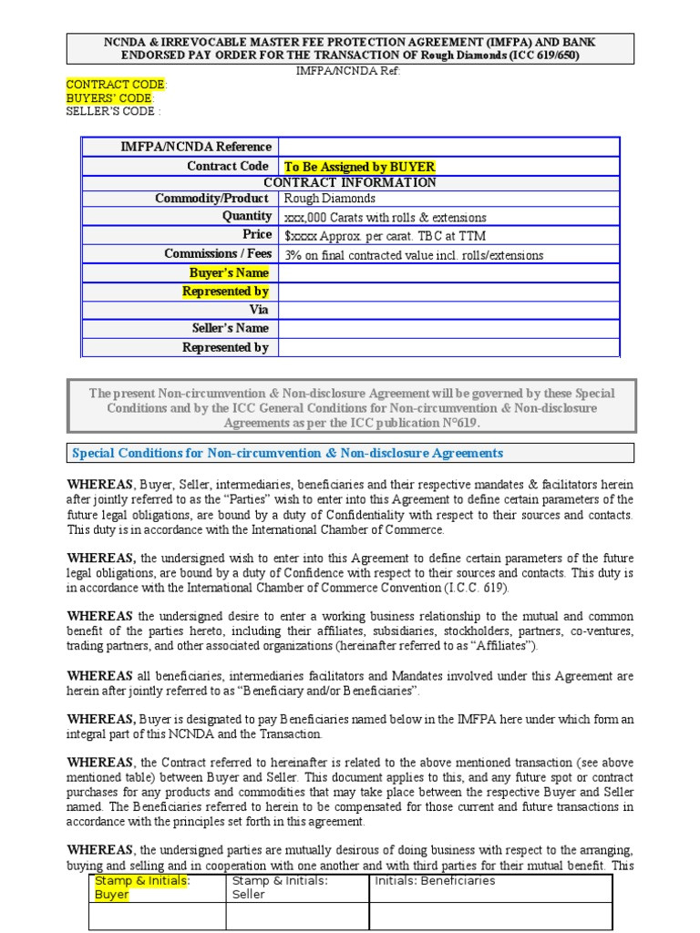 Imfpa Contract Template Imfpa Ncnda Wire Transfer Financial Transaction