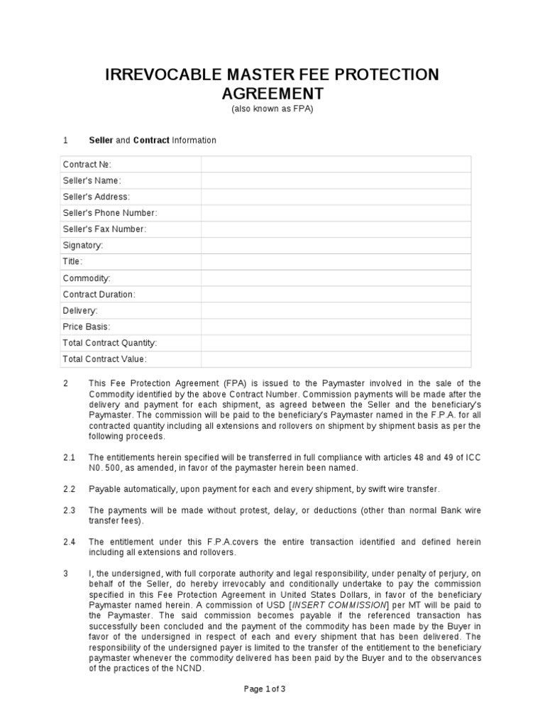 irrevocable master fee protection agreement sample