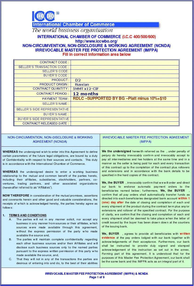 Imfpa Contract Template Ncnda Imfpa Template 1 Word