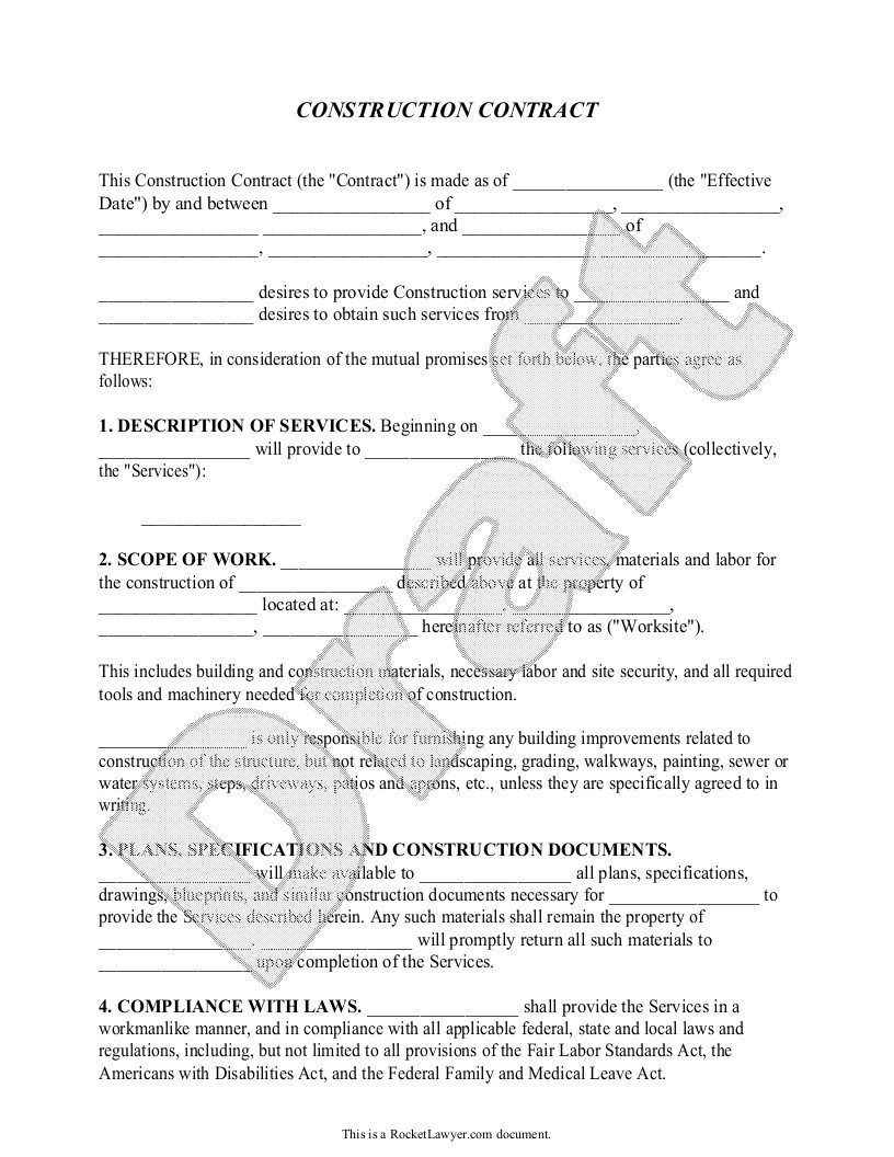 Independent Contractor Contract Template south Africa Construction Contract Template Construction Agreement