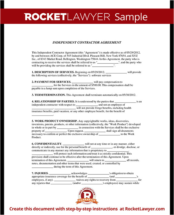 independent contractor agreement rl