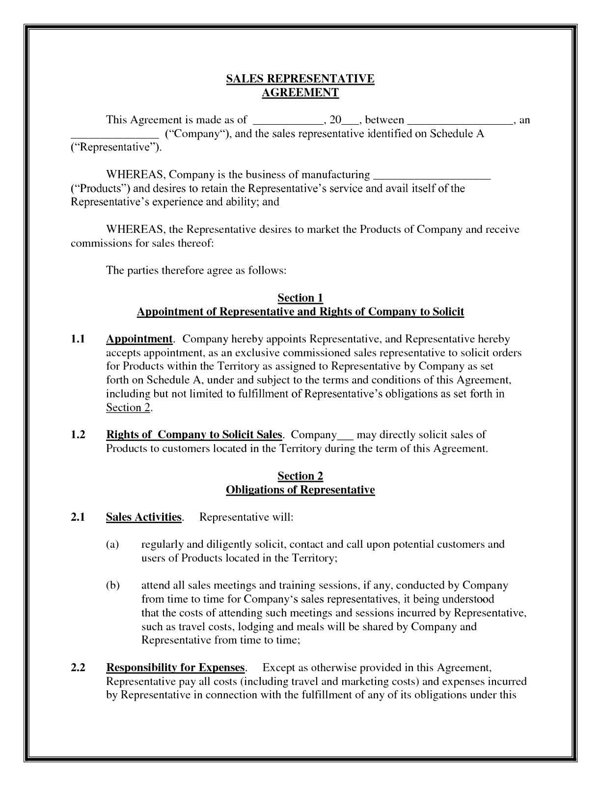 independent sales rep contract template