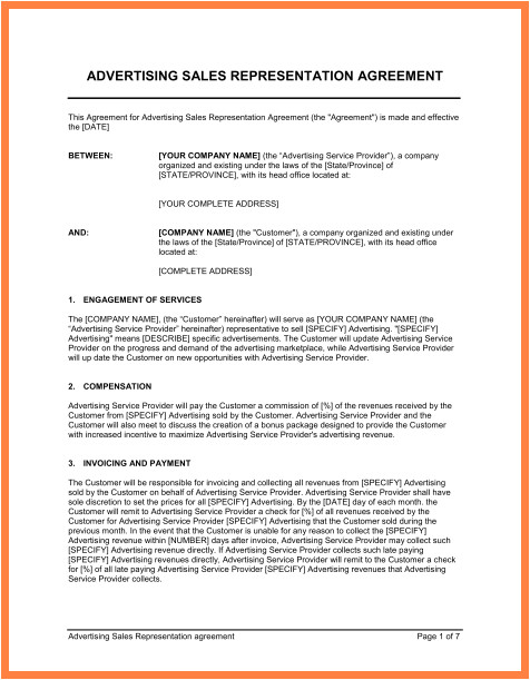 7 independent sales rep agreement template