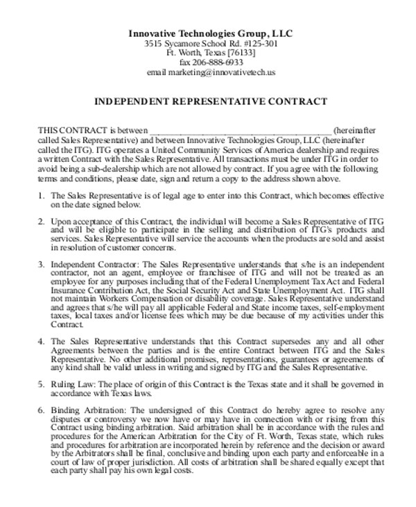 independent agreement contract
