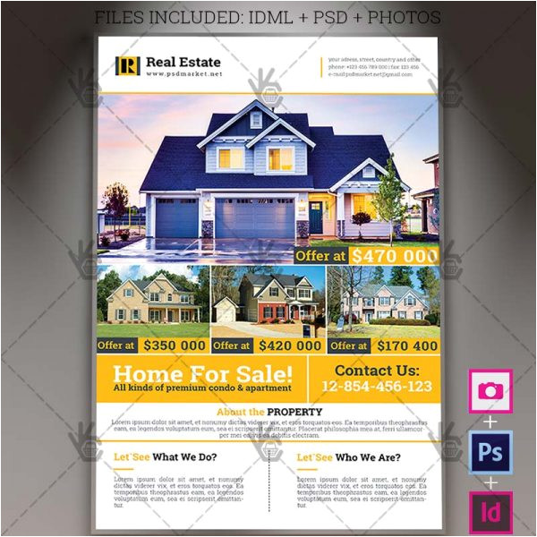 real estate a4 flyer psd template indesign